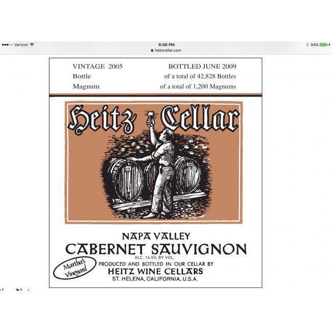2006 Heitz Cellars Marthau0027s Vineyard Cabernet Sauvignon (750ML)  sc 1 st  Gil Turneru0027s & 2005 Heitz Cellars Marthau0027s Vineyard Cabernet Sauvignon 750 ML ...